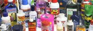 Editorial use only   Domestic chemical products. Selection of household chemicals, including: toilet cleaners, disinfectants, pesticides, metal cleaners, engine oils, and solvent-based cleaners.