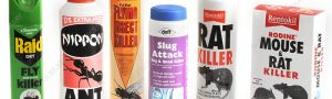Editorial use only   Domestic pesticides. Selection of products used to kill and control household pests.